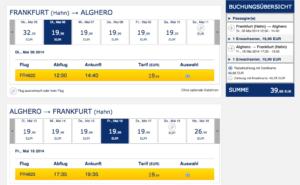 Beispielflüge bei Ryan Air; Stand: 29.03.14