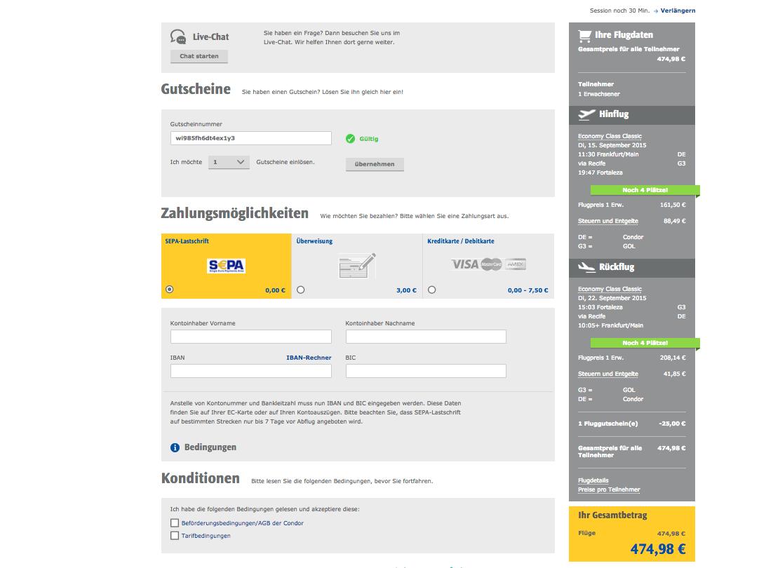 Screenshot 2: weitere 25€ sparen durch Gutscheincode!