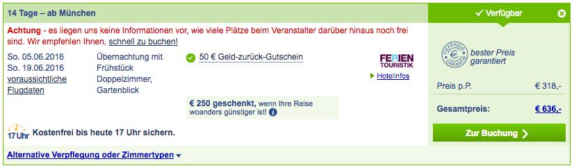 Reisebeispiel - Stand 06.04.